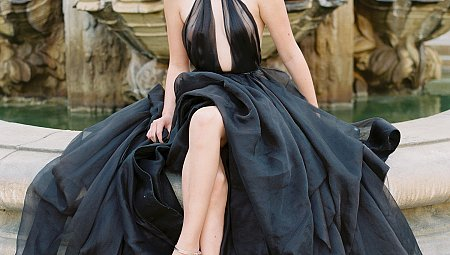 An Opulent Black Gown Exuding Elegance for a Halloween Wedding