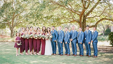 Riverside Wedding with Burgundy Details