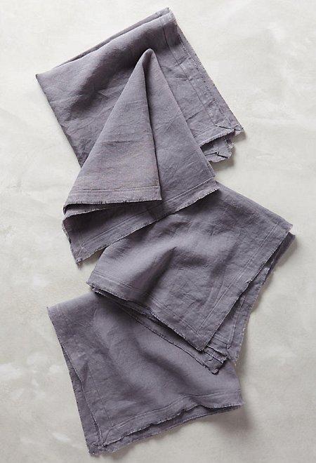 Rustic Linen Napkin Set in Slate