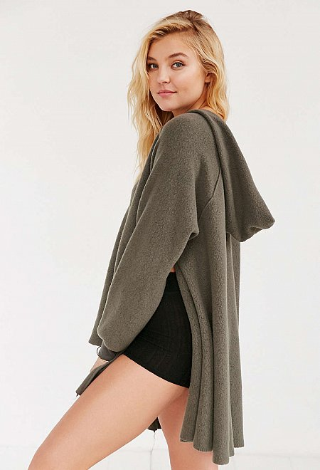 V-Neck Slouchy Hooded Top