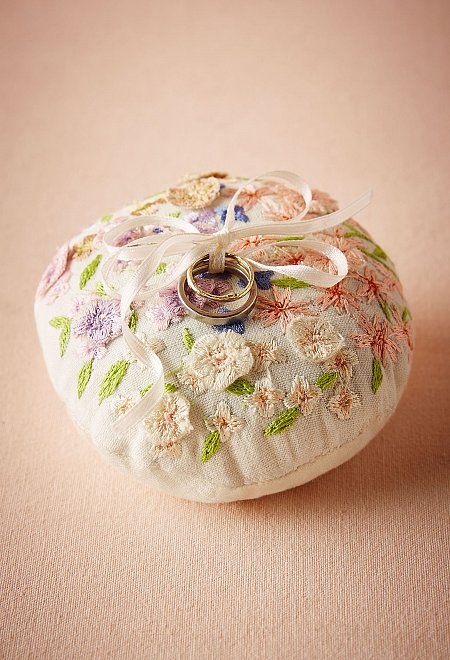 Floral Embroidered Ring Pillow