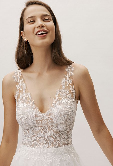Lace Sleeveless Embellished Gown