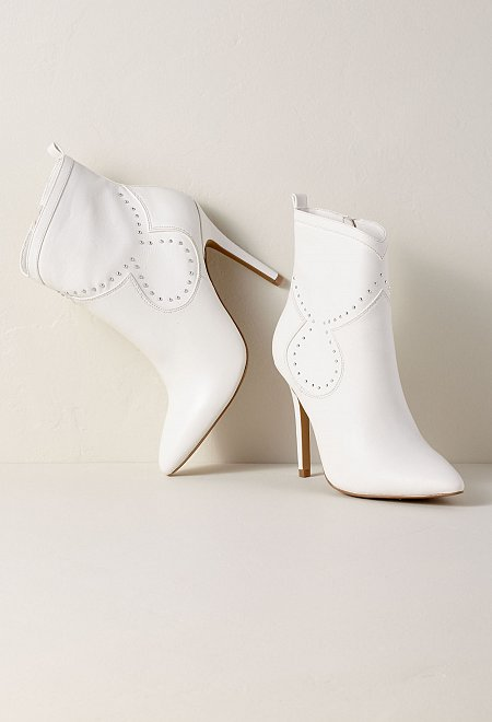 Studded White Bootie