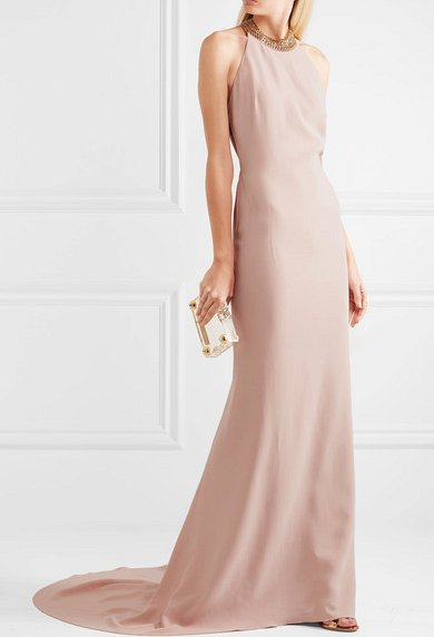 CHAIN-EMBELLISHED STRETCH-CREPE HALTERNECK GOWN