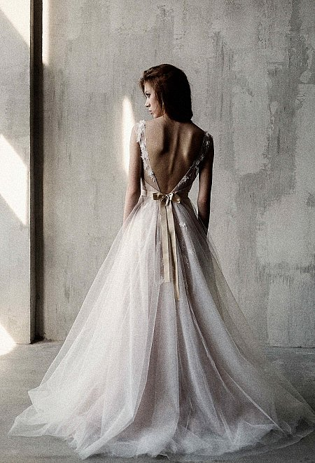 Nude Open Back Gown