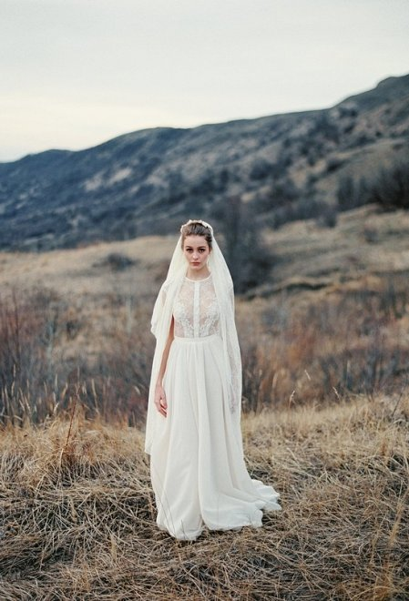 A-line silhouette milk wedding dress with sheer lace