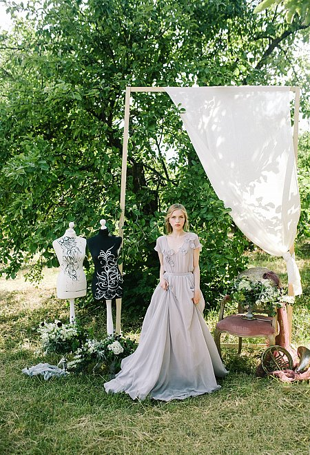 Gray Wedding Dress with floral decor