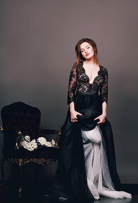 Black non-corset dress with lace bodice