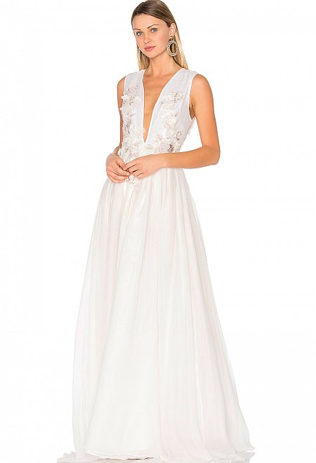Floral Embellished Silk Gown in Off White