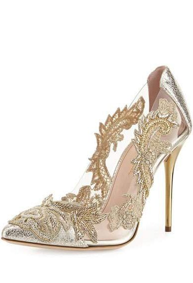 Embroidered Metallic Pumps