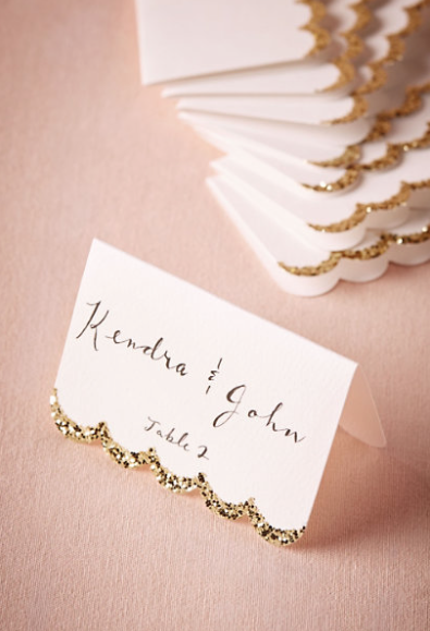 Glitter Dipped Place Cards