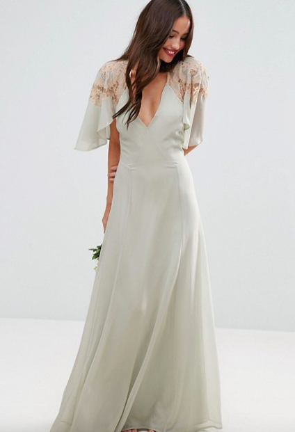 Lace Applique Cape Maxi Dress