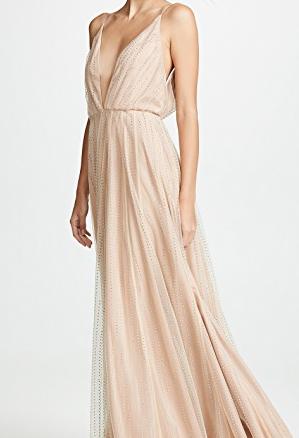 Crystal Mesh Deep V-Neck Gown