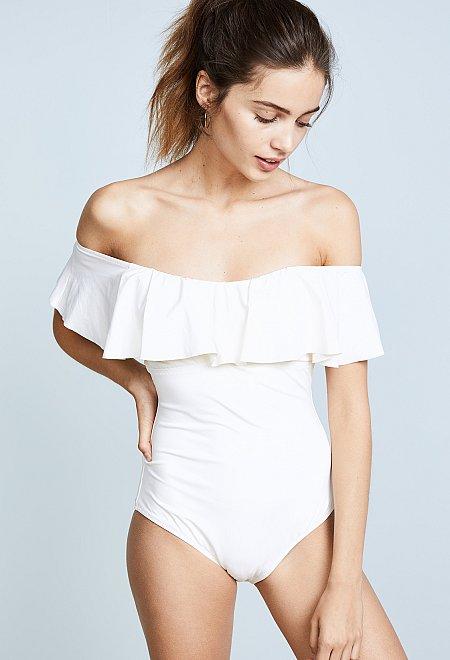White Off Shoulder One Piece