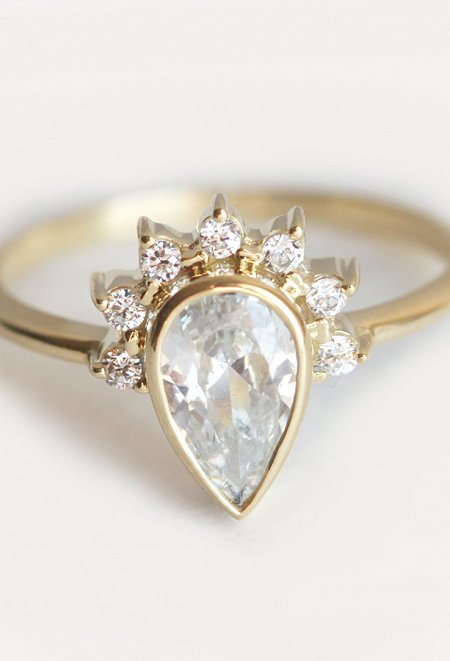 HALF HALO DIAMOND ENGAGEMENT RING
