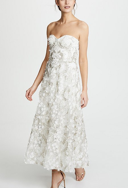 Embroidered Midi Dress by Marchesa
