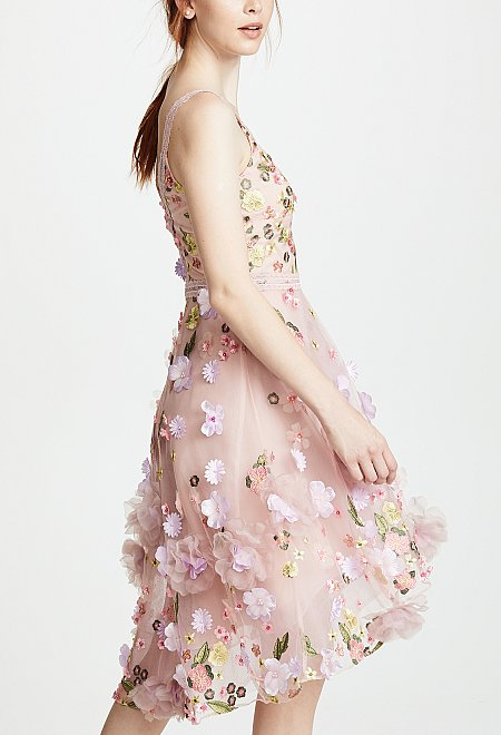 Blush Floral Cocktail Dress