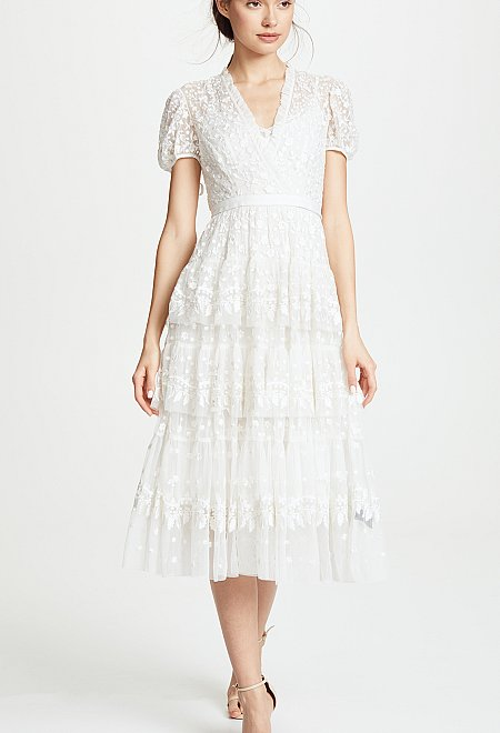 Layered Lace Gown in Ivory