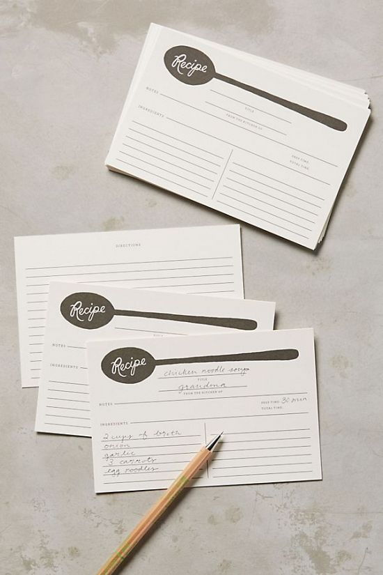 Soup Spoon Recipe Cards