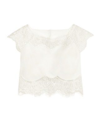 RIME ARODAKY CAPLAN CROPPED LACE AND CREPE TOP