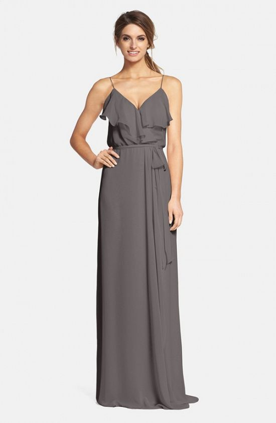 Ruffle Front Chiffon Gown
