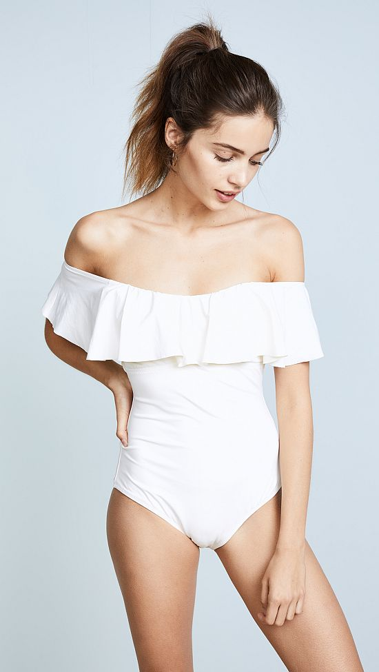 White Off Shoulder One Piece