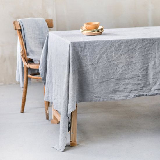 Light Grey Linen Tablecloth
