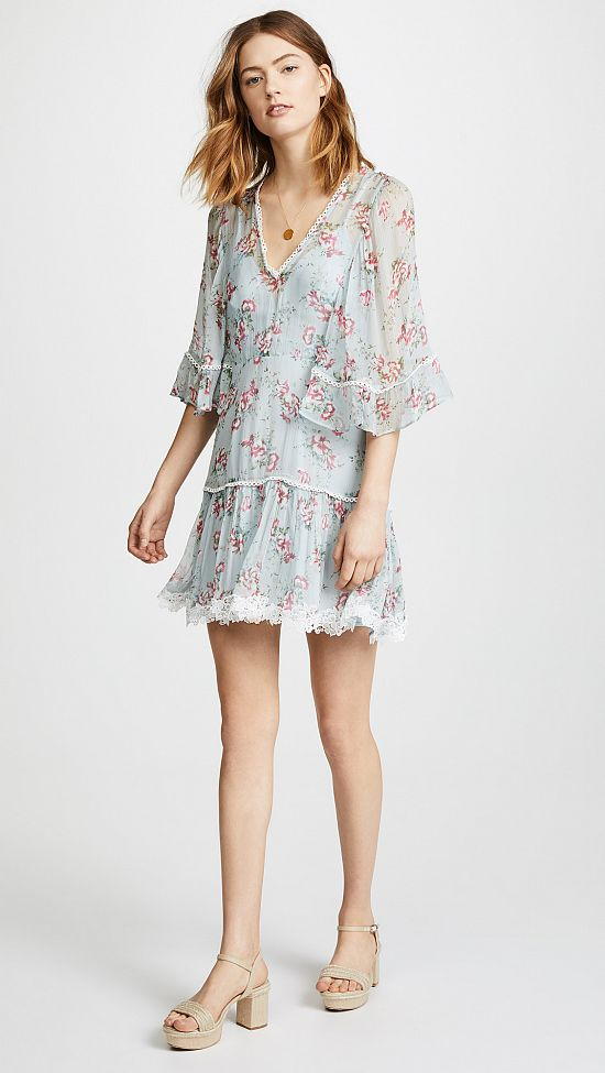 Sheer Floral Mini Dress