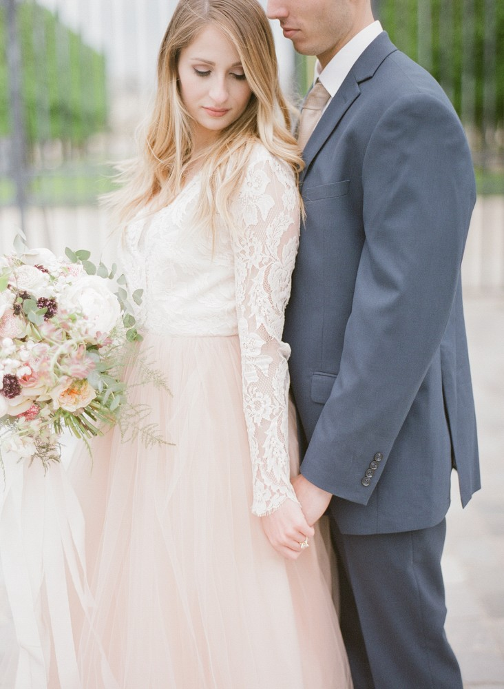 Amanda and Cole's Paris Wedding in a Blush Gown