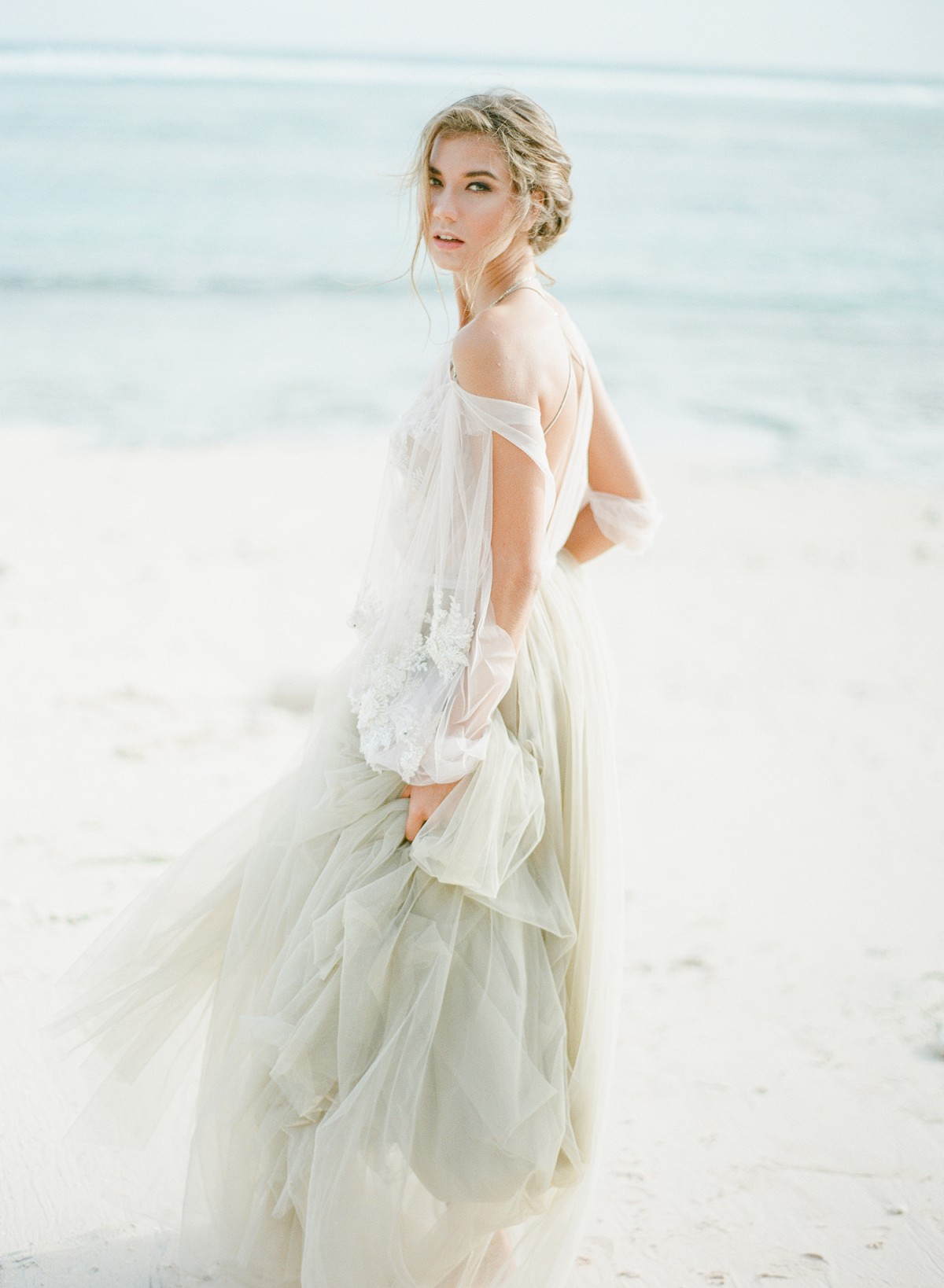 Coastal Wedding Style with Gray Wedding Dress