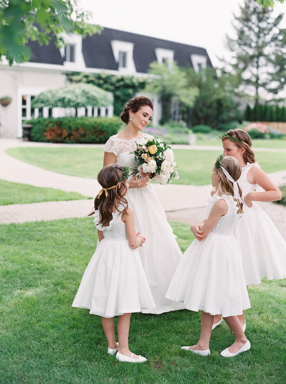 Flower girls   Sophisticated Real Wedding in Ontario by When He Found Her on Wedding Sparrow