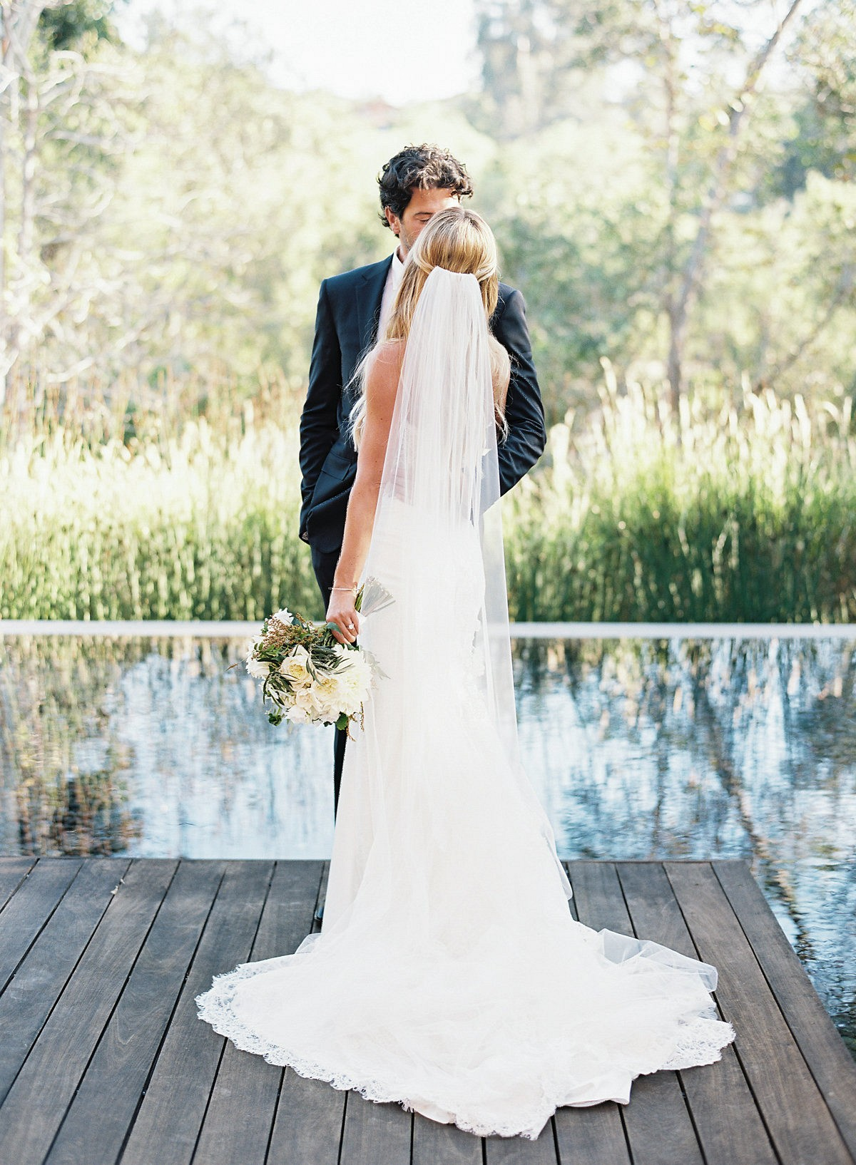 White and Natural Green California Wedding