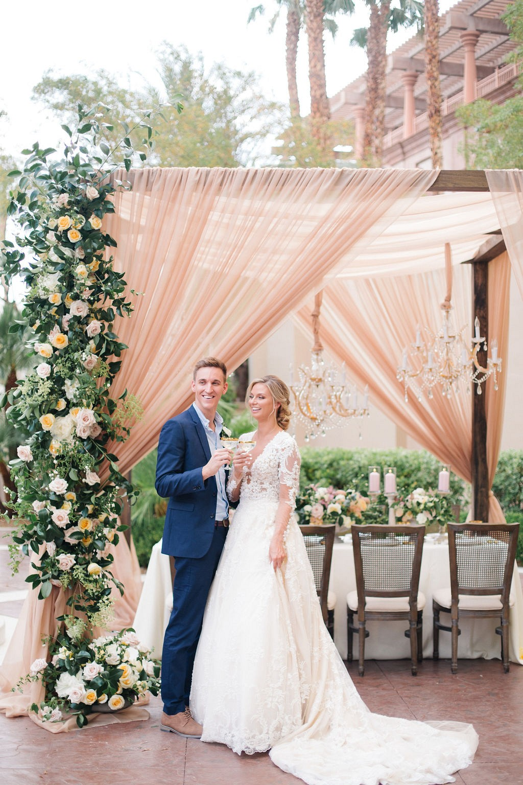Four Seasons Wedding with Chandeliers and garden florals