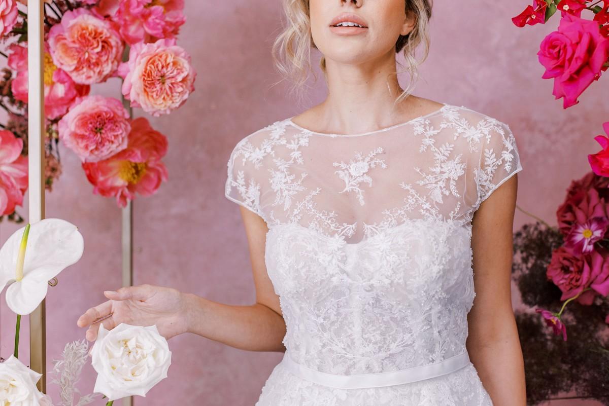 Bateau or boatneck wedding gowns