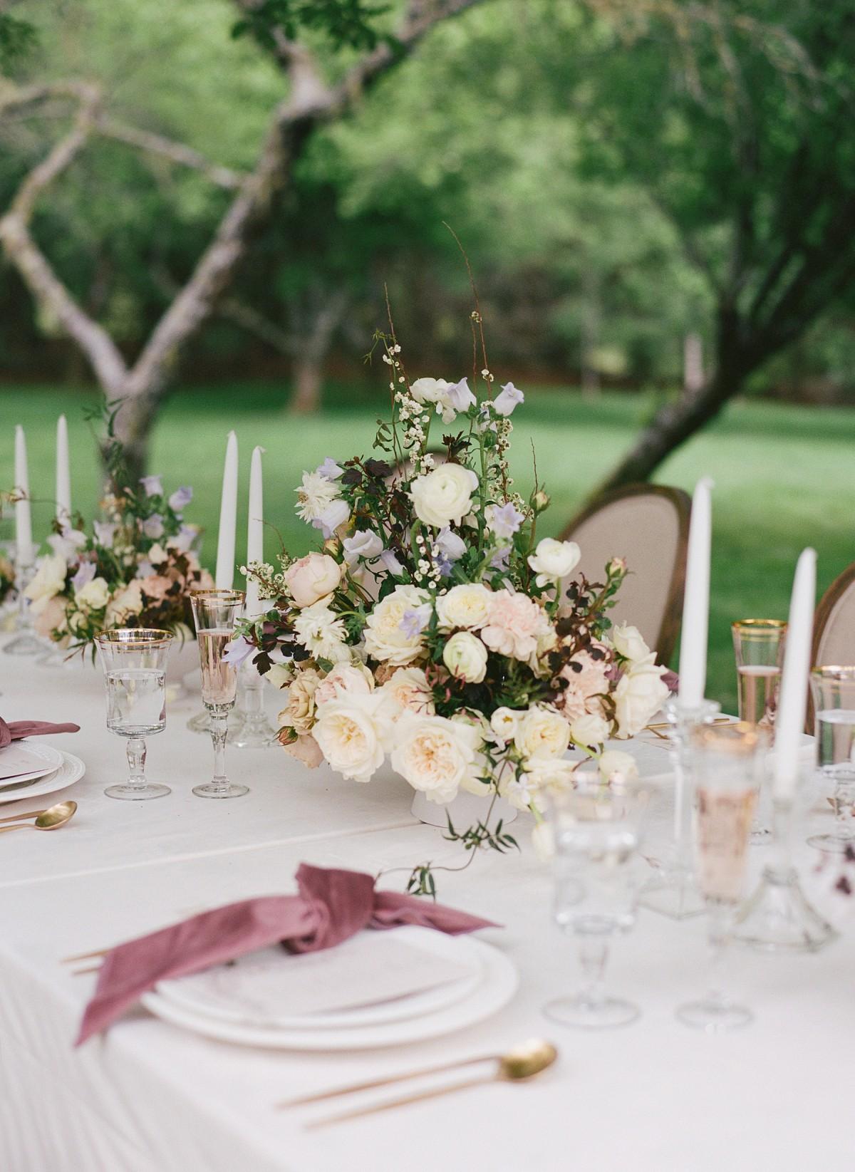 Romantic blush garden editorial in the Blue Ridge Mountains