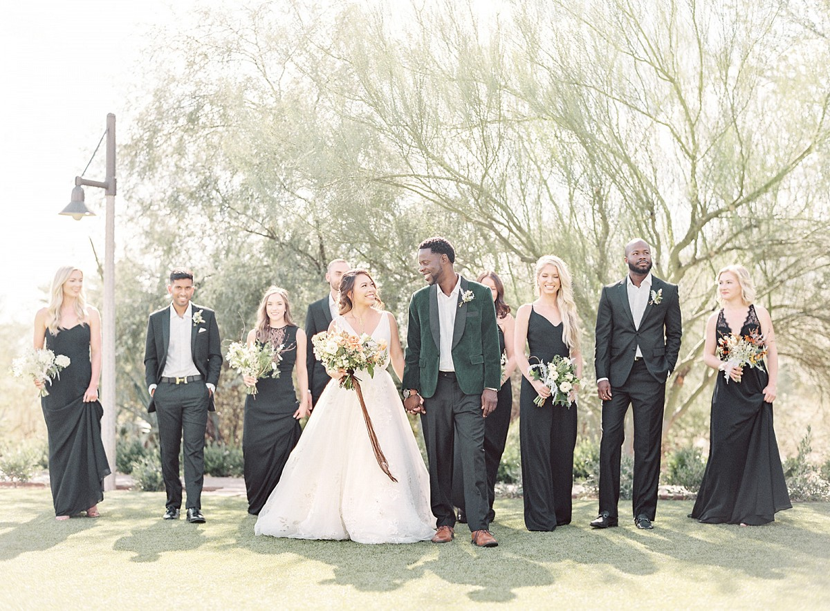 El Chorro Wedding Inspiration with Black Wedding Party Attire