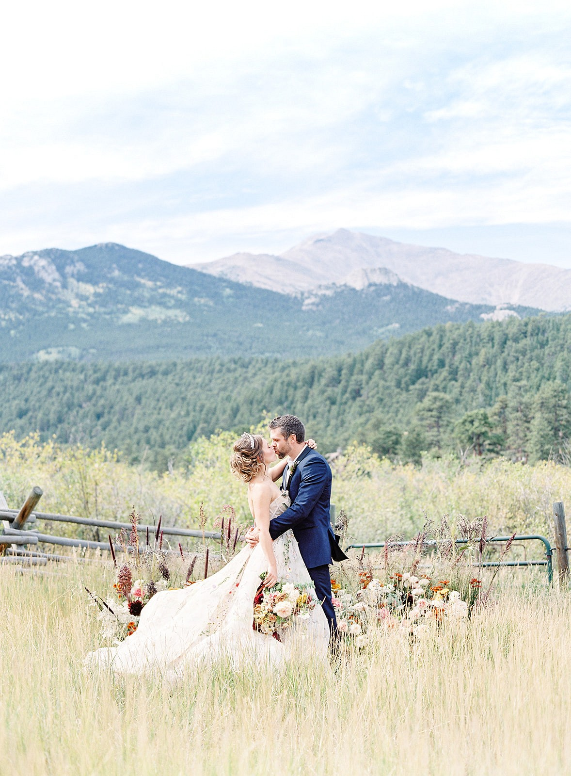 Colorful Wedding Dress in Colorado Mountains