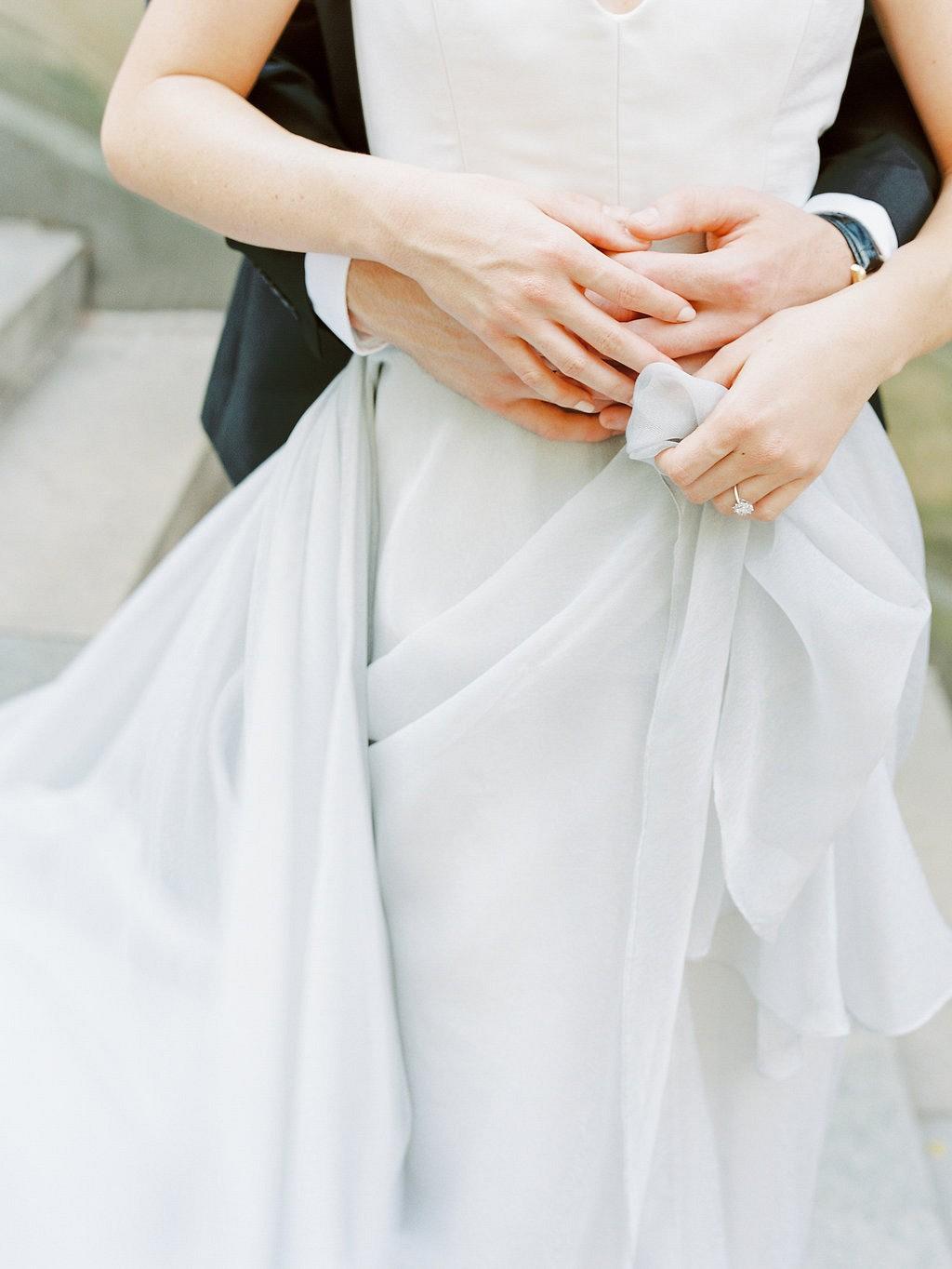 Central Park Elopement in a Pale Blue Wedding Gown