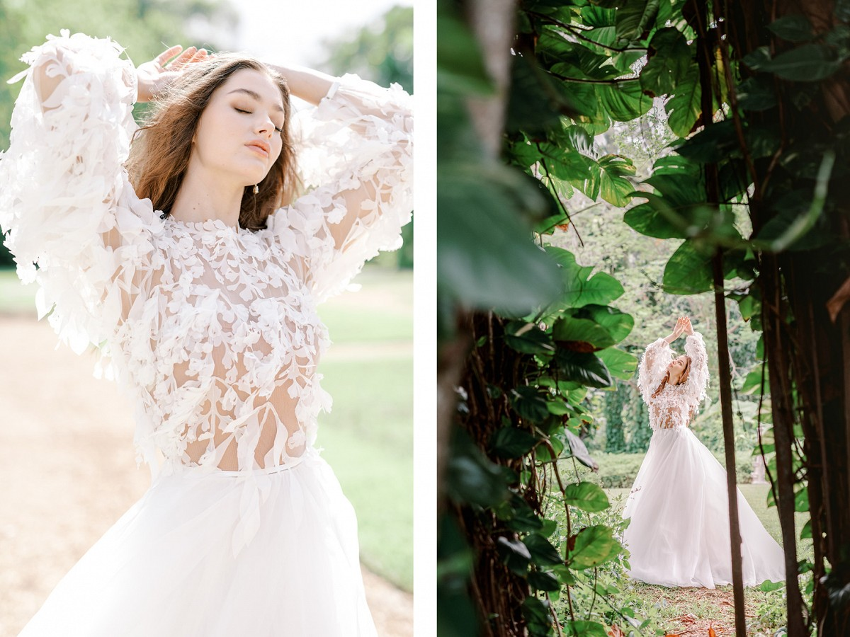 Dramatic regal editorial with black lace gown at Spanish monastery