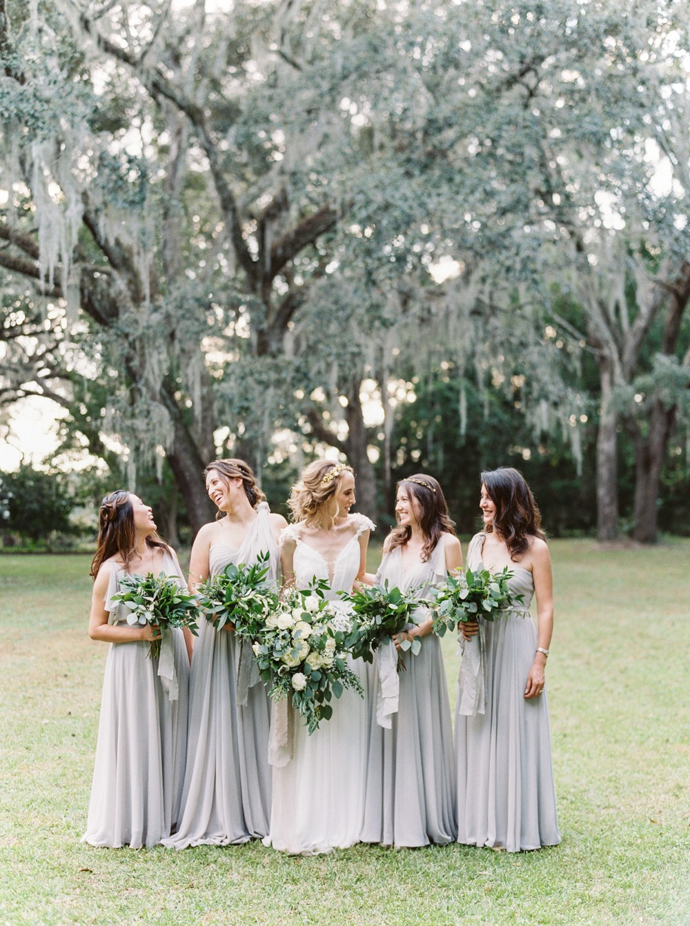 Gray & Olive Tone Charleston wedding with Alexandra Grecco dress