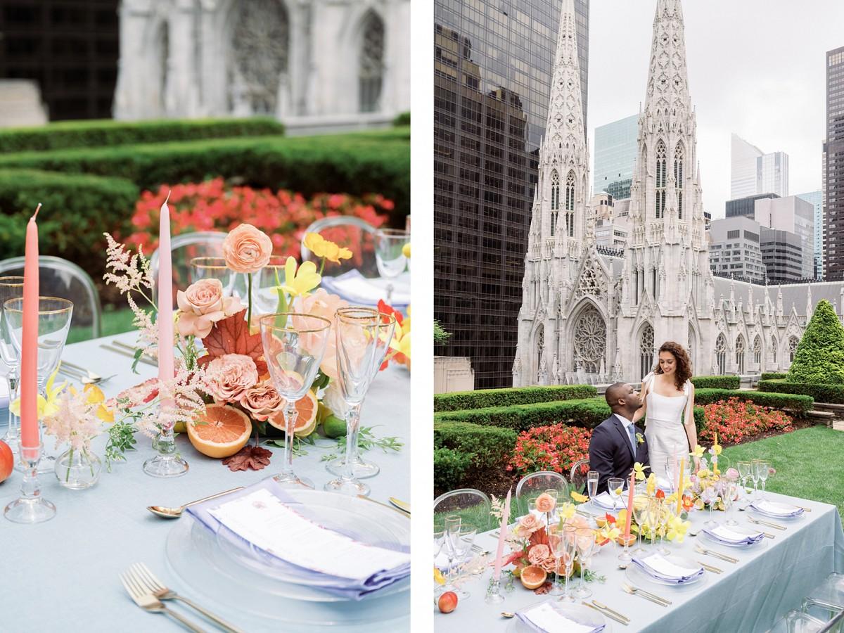 Bright modern wedding editorial at the Rockefeller Center, NYC