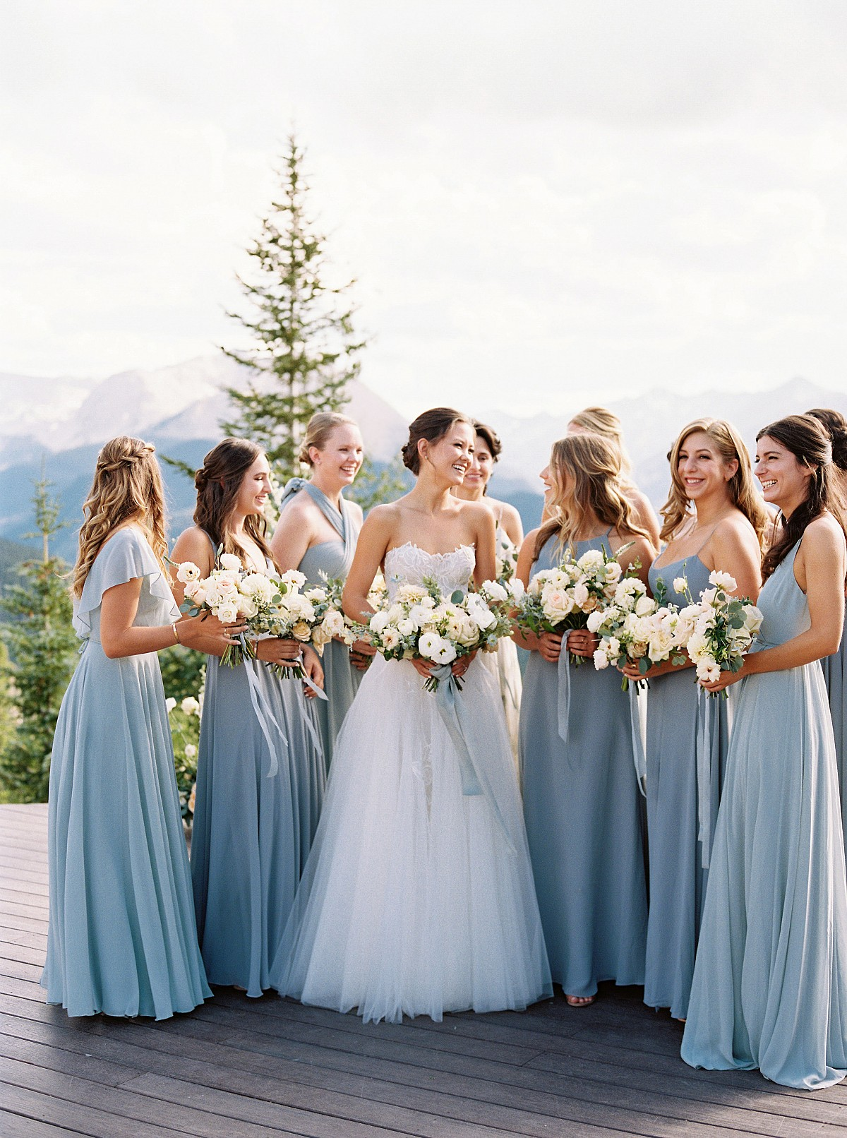 steel blue bridesmaids dresses