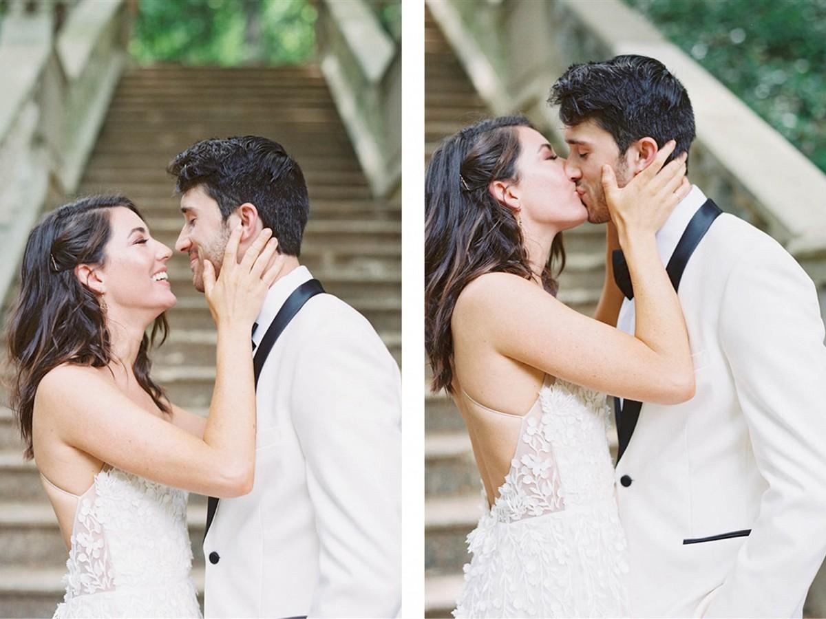 White Tuxedo and Alexandra Grecco Dress in Atlanta Gardens