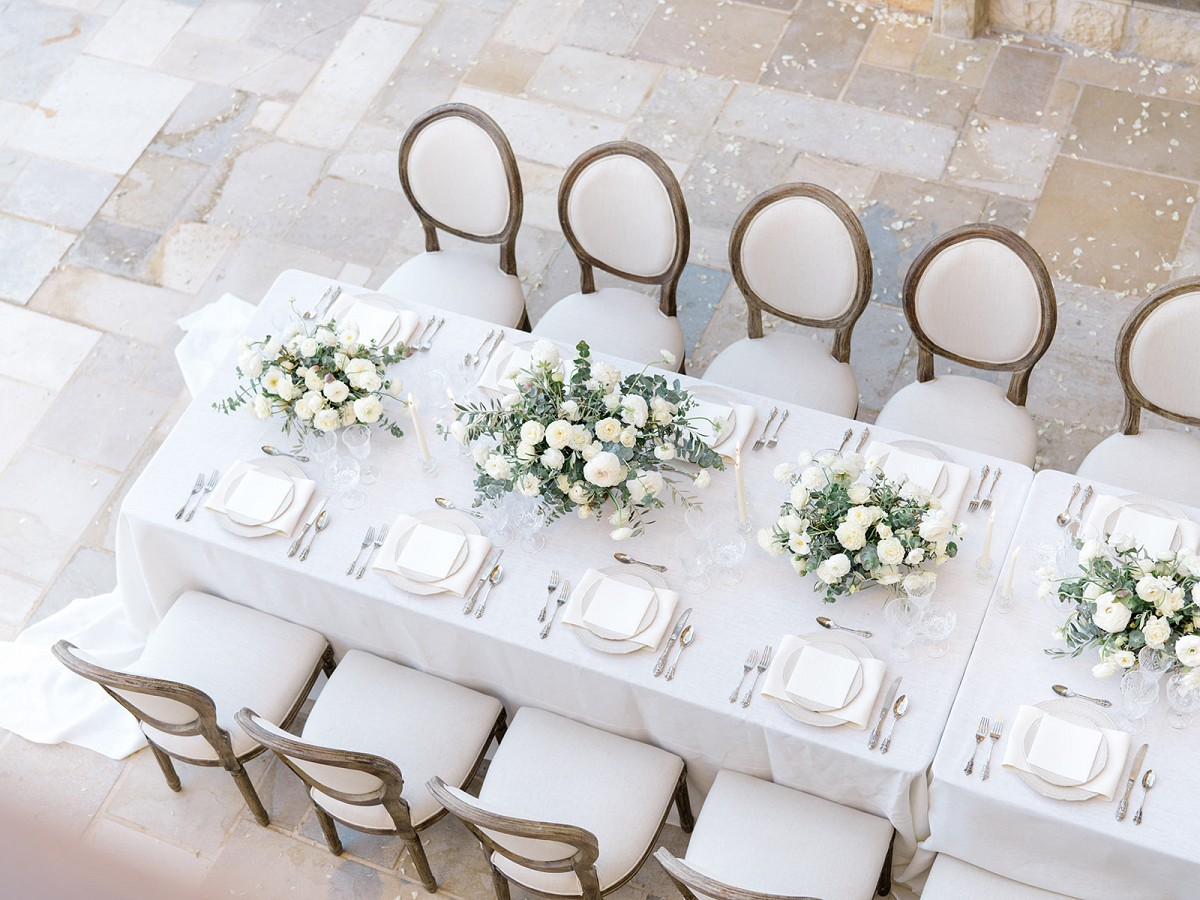 Refined white floral editorial at California winery