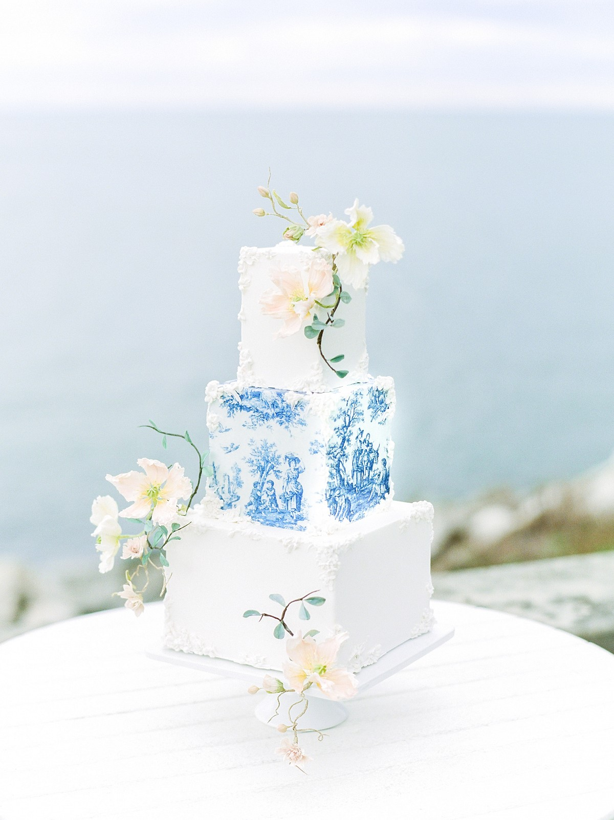 European style blue and peach editorial on Lake Erie