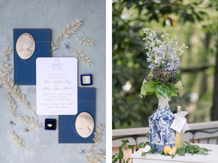 Beautifully Designed Blue and Lemon Outdoor Alabama Wedding