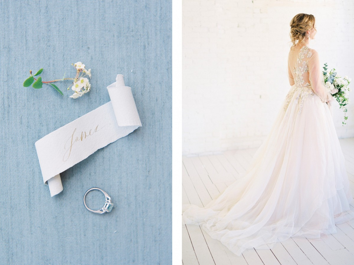 Romantic Bridal Style with French Blue Accents