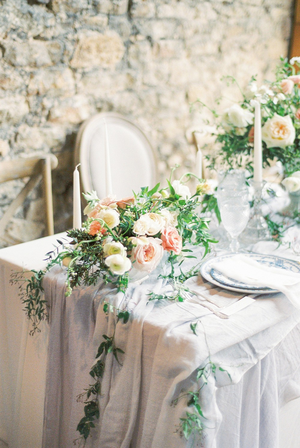 Pale Peach and Light Periwinkle Bridal Inspiration