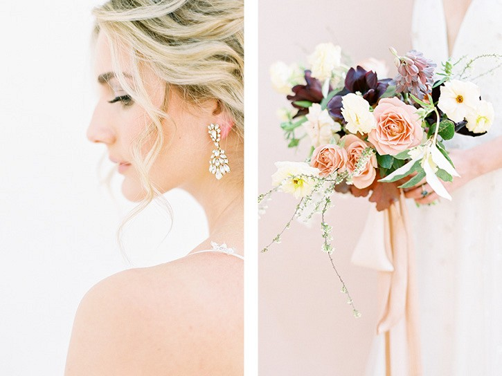 Romantic wedding style with pops of Burgundy and Blush