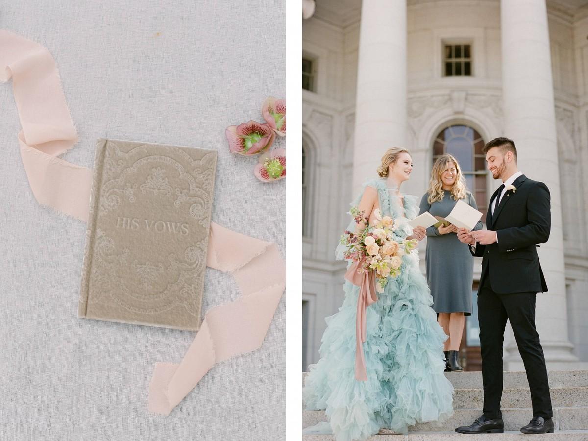 Capitol Elopement in Blue Wedding Dress